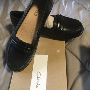 New Clarks black leather loafer